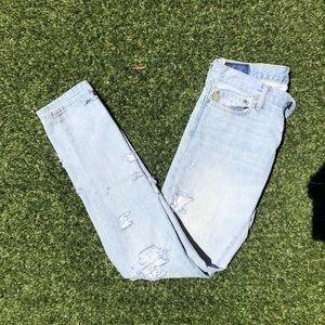 White washed DIY Distressed Skinny Jeans